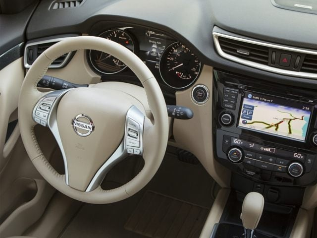Steering wheelof the Nissan Rogue for sale in North Aurora, IL.