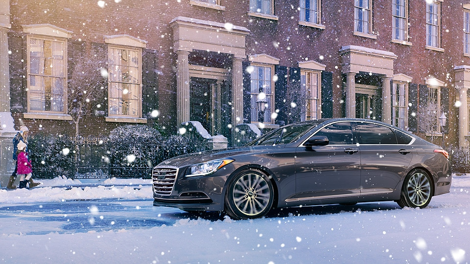 Hyundai Genesis driving on snowy road