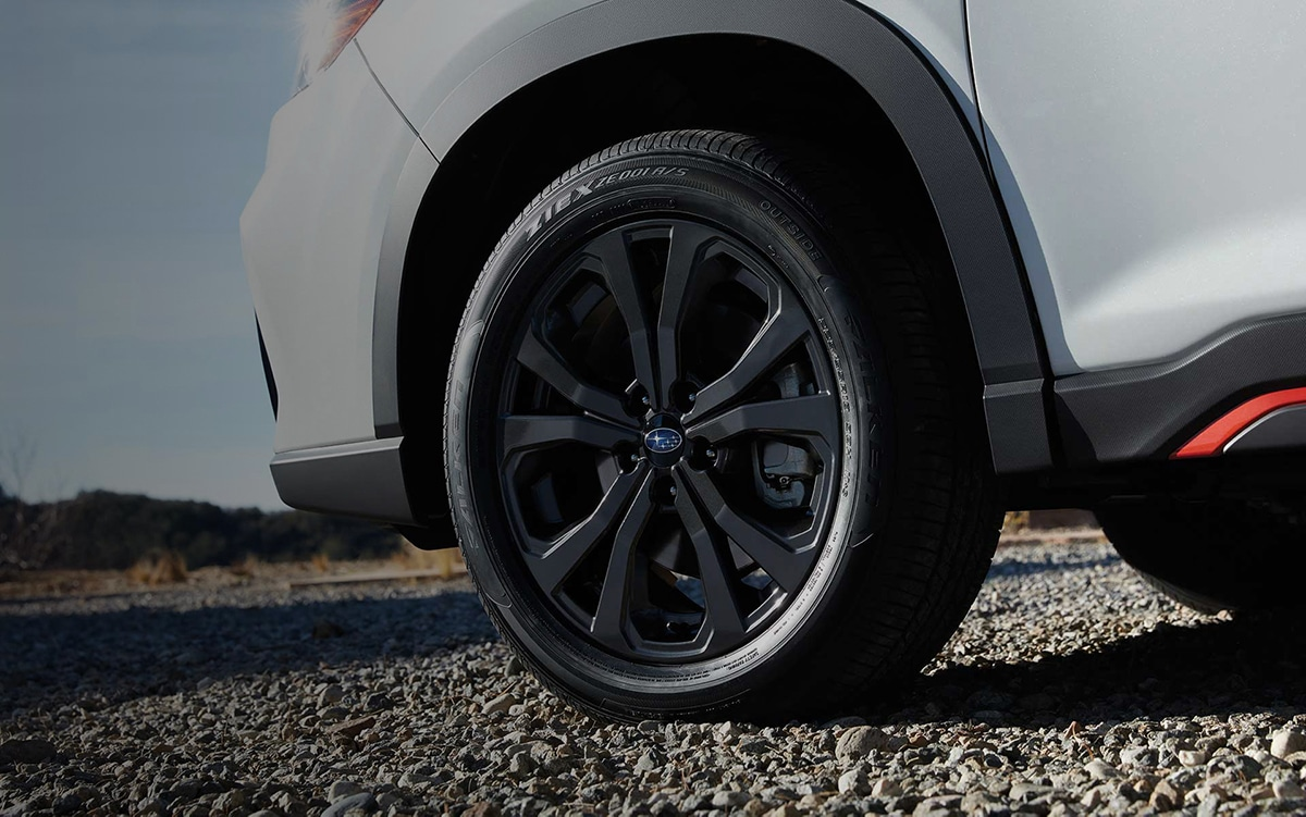 A close-up of the standard 18-inch alloy wheels on the 2021 Subaru Forester Sport.