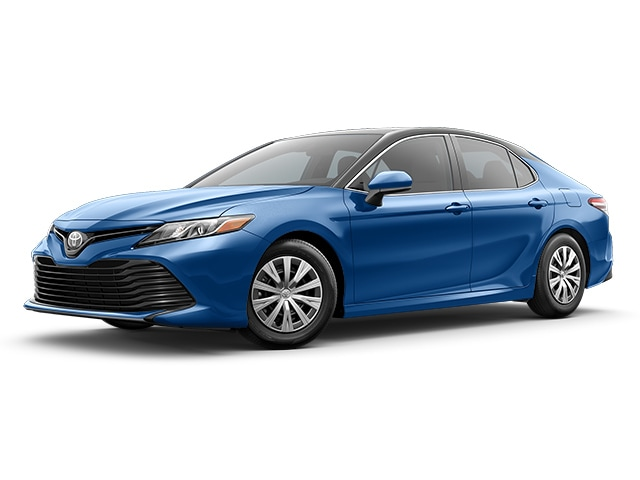 2019 Toyota Camry in Blue Streak Metallic with Midnight Black Metallic Roof and Rear Spoiler color