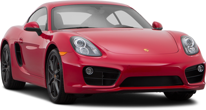 red Porsche Cayman coupe