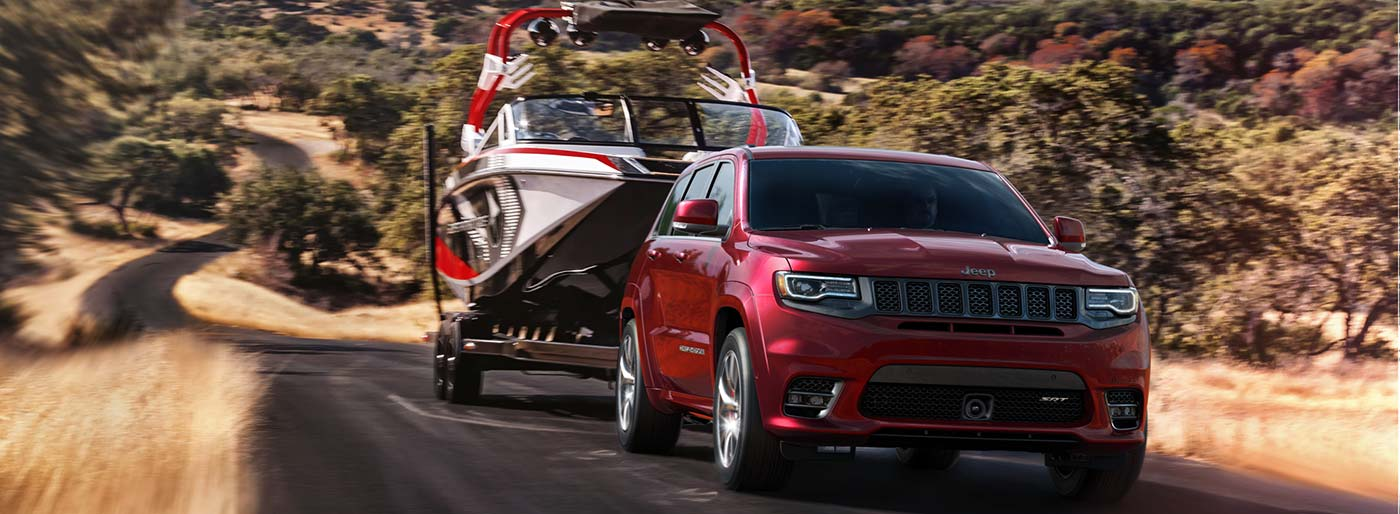 2018 Jeep Grand Cherokee SRT towing a boat