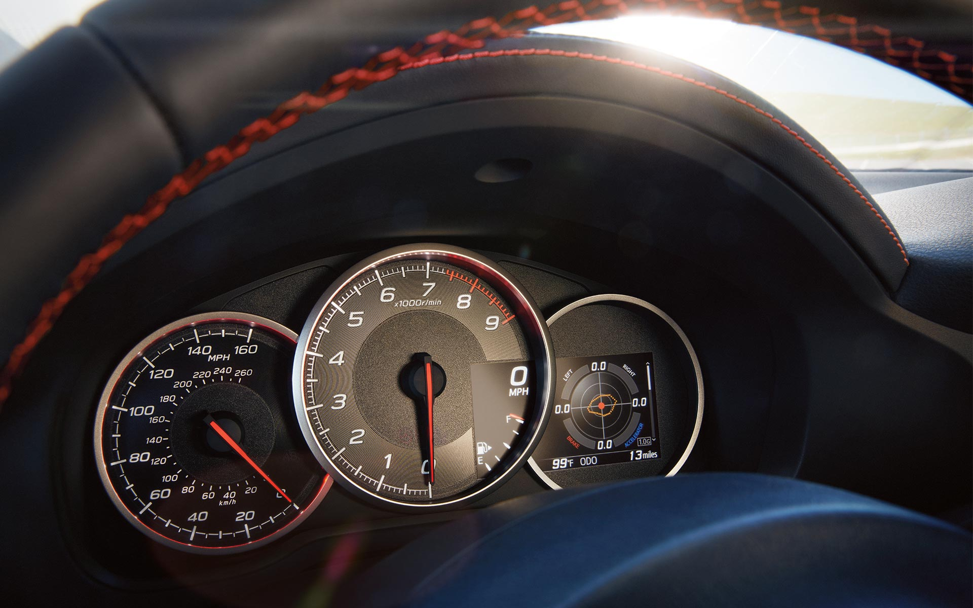 A close-up of the Multi-Function Display and instrument cluster in the 2020 BRZ.