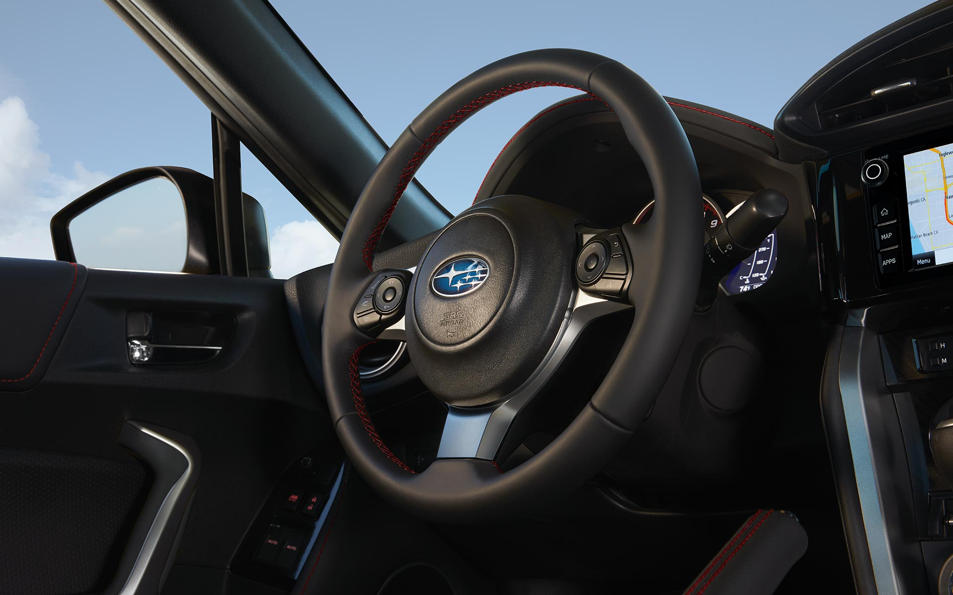 A close-up of the leather-wrapped steering wheel in the 2020 BRZ.