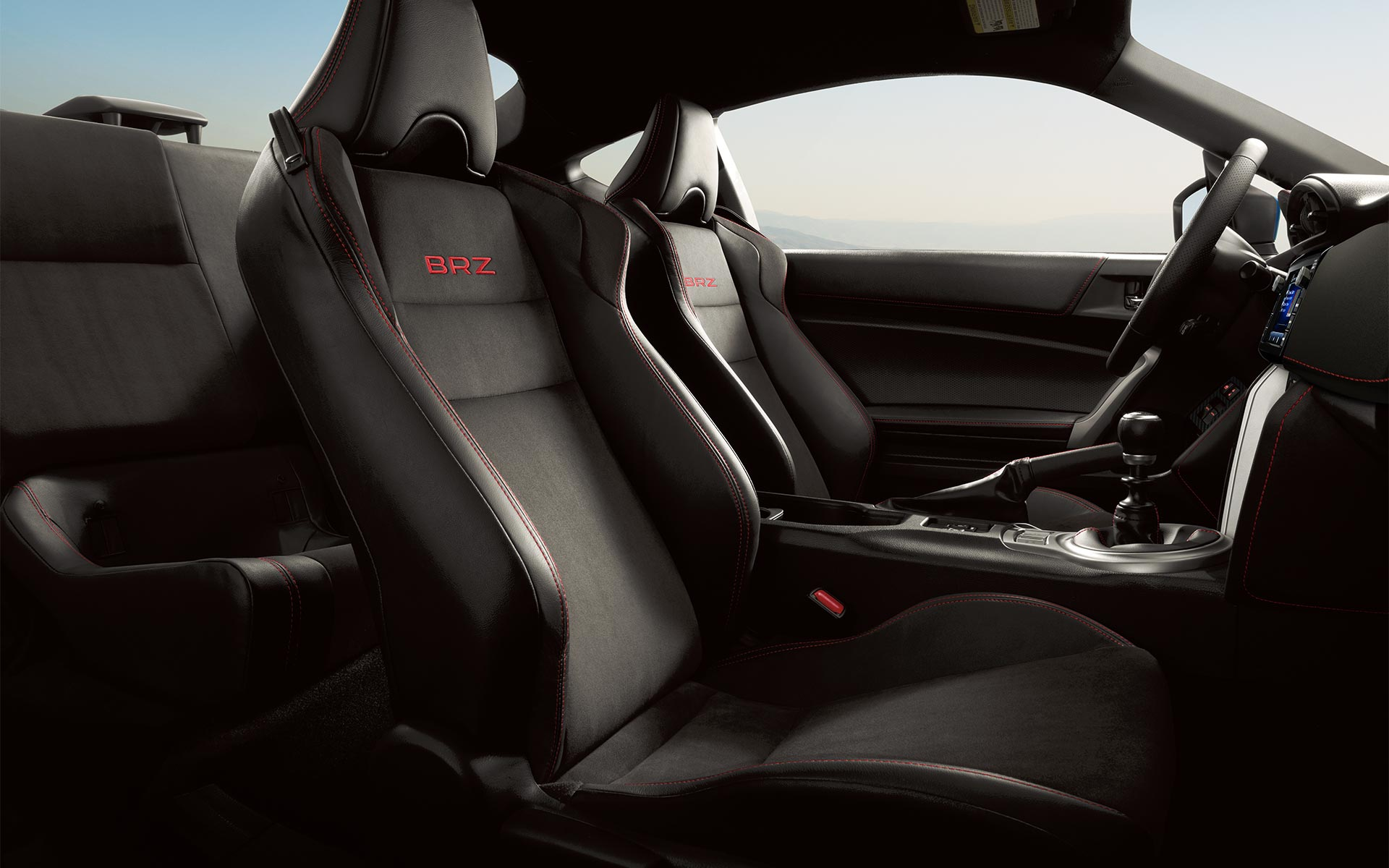 A close-up of the bolstered front sport seats in the 2020 BRZ.