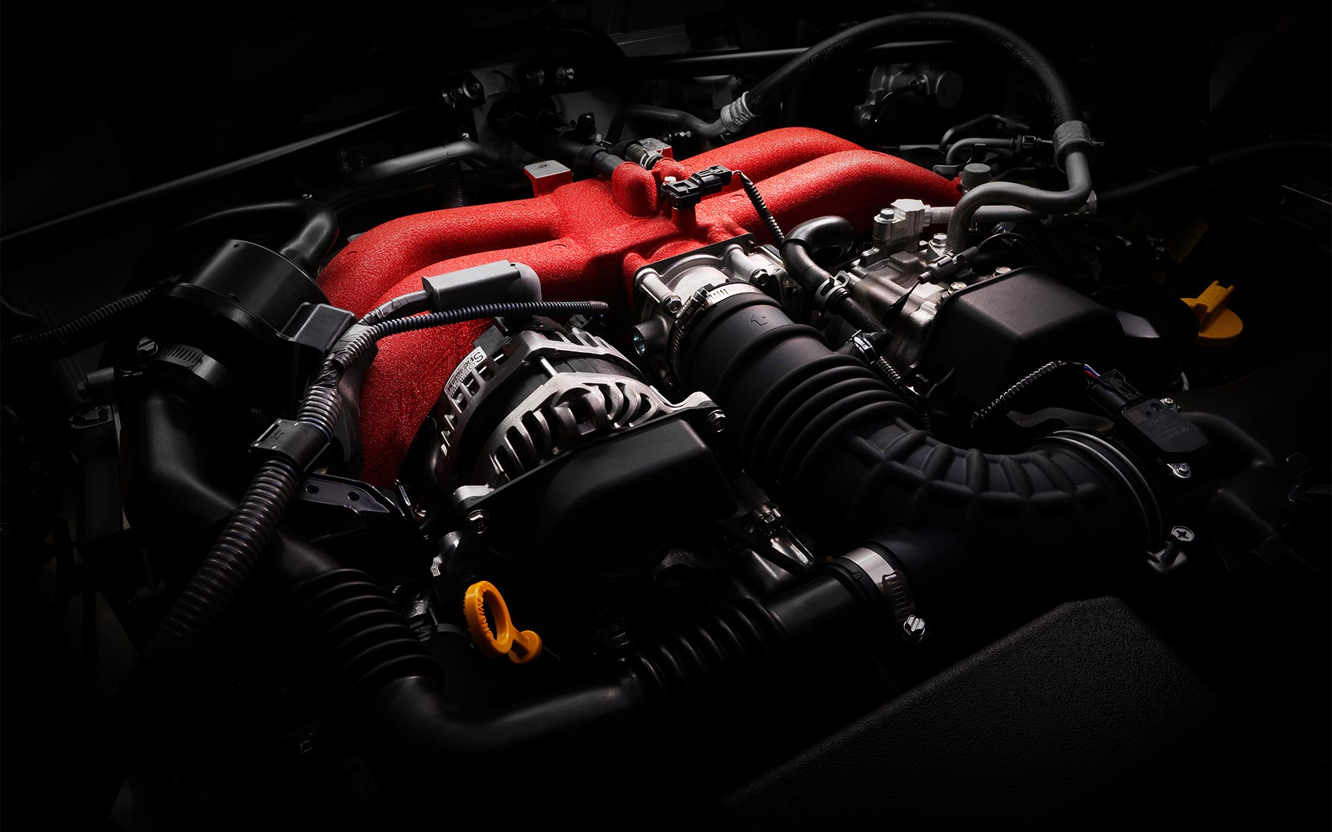 A close-up of the SUBARU BOXER® engine in the 2020 BRZ.