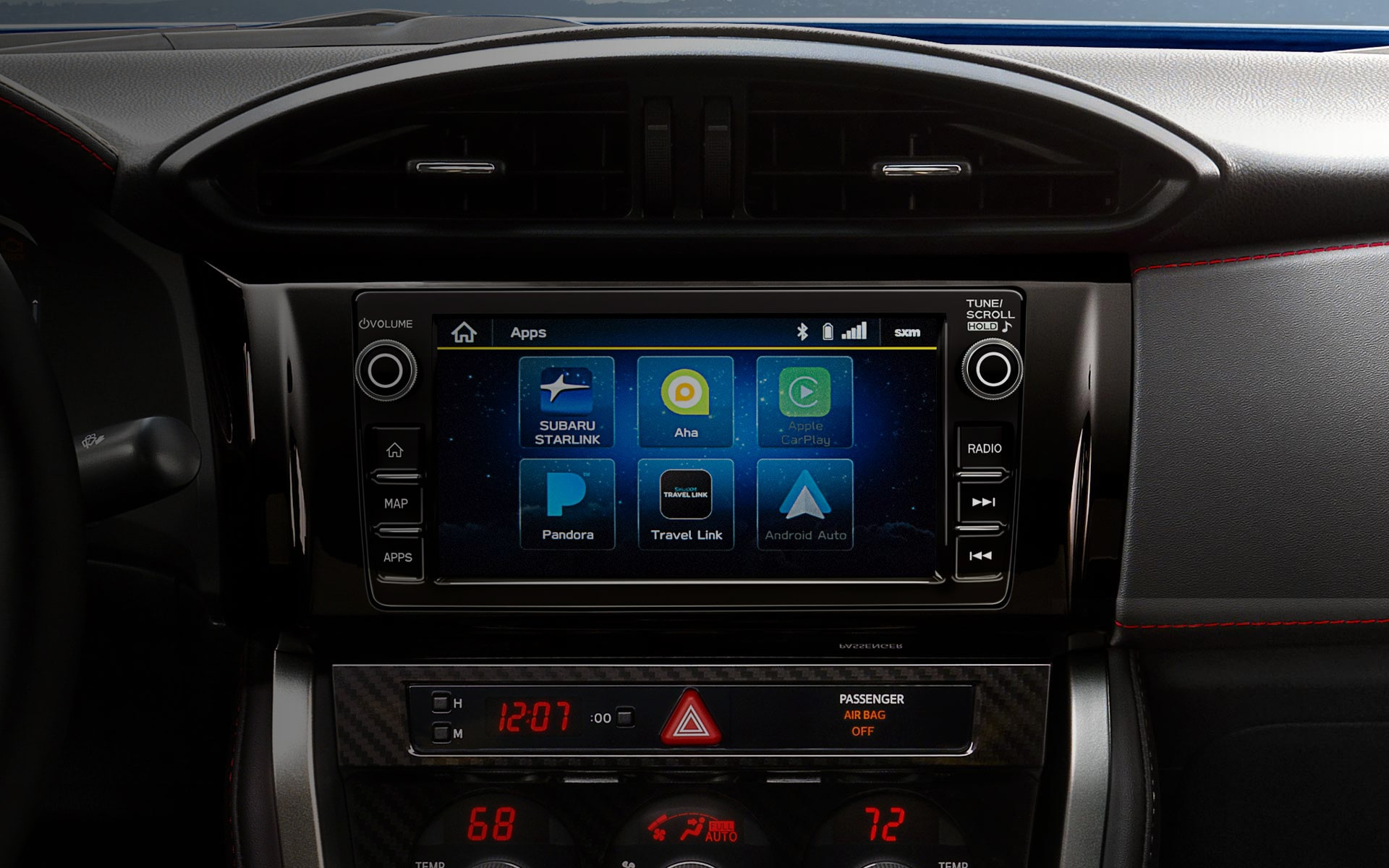 A close-up of SUBARU STARLINK® Multimedia 7-inch touchscreen in the 2020 BRZ.