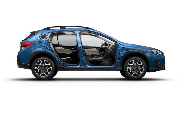 A cutaway view of the 2020 Crosstrek showing its high-strength steel body structure.