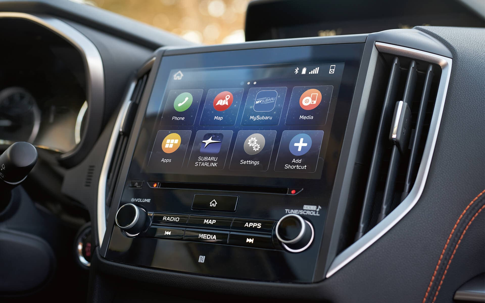 A close-up of the touchscreen for the SUBARU STARLINK® Multimedia system in the 2020 Crosstrek.