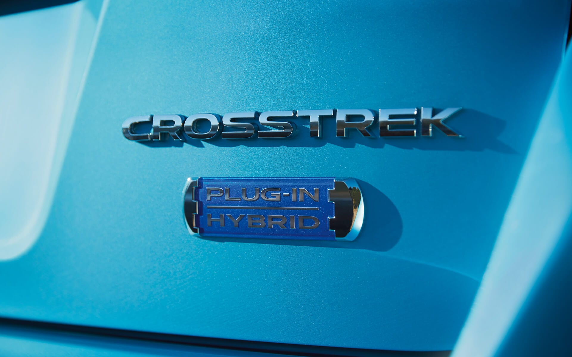 A close-up of the Plug-In Hybrid badge on the 2020 Crosstrek Hybrid.