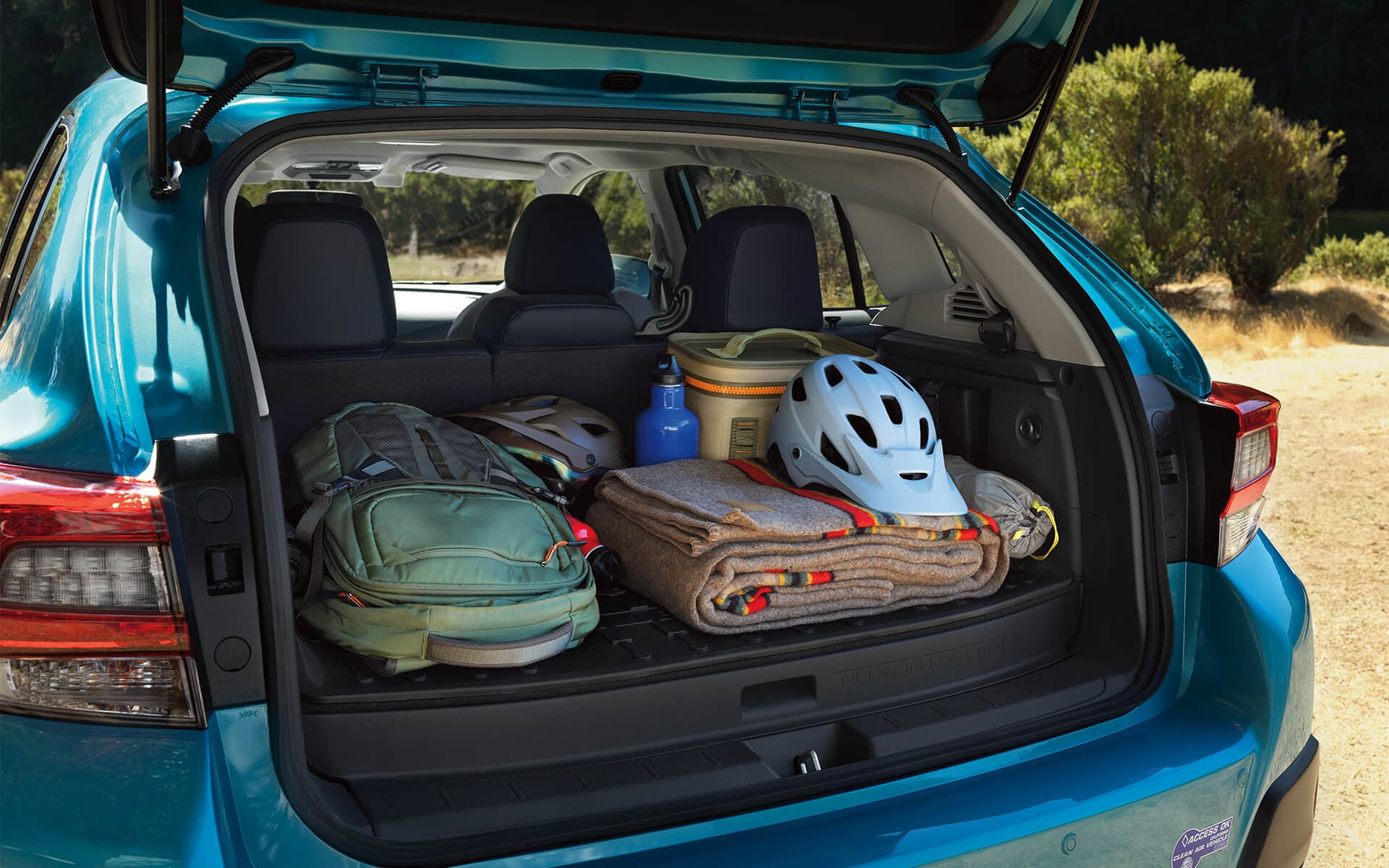 A view into the spacious cargo area of the 2020 Crosstrek Hybrid.