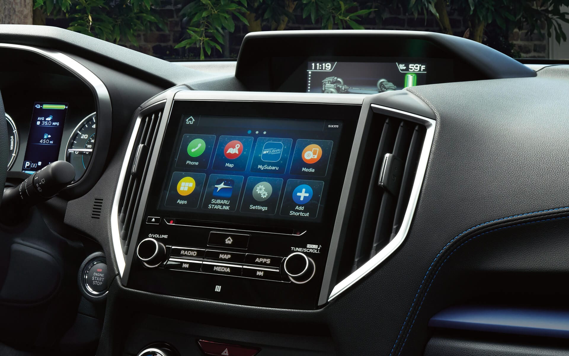 A close-up of the SUBARU STARLINK® Multimedia touchscreen in the 2020 Crosstrek Hybrid.