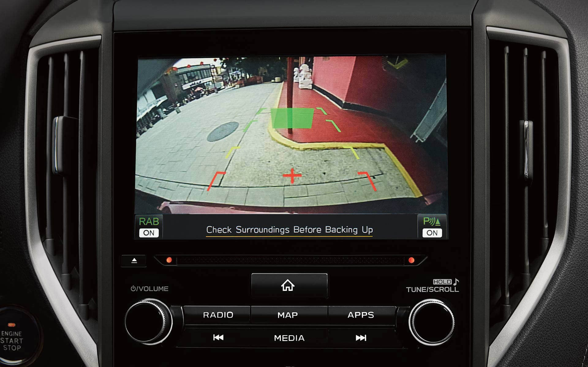 A close-up of the rear-view camera display on the 2020 Crosstrek Hybrid.
