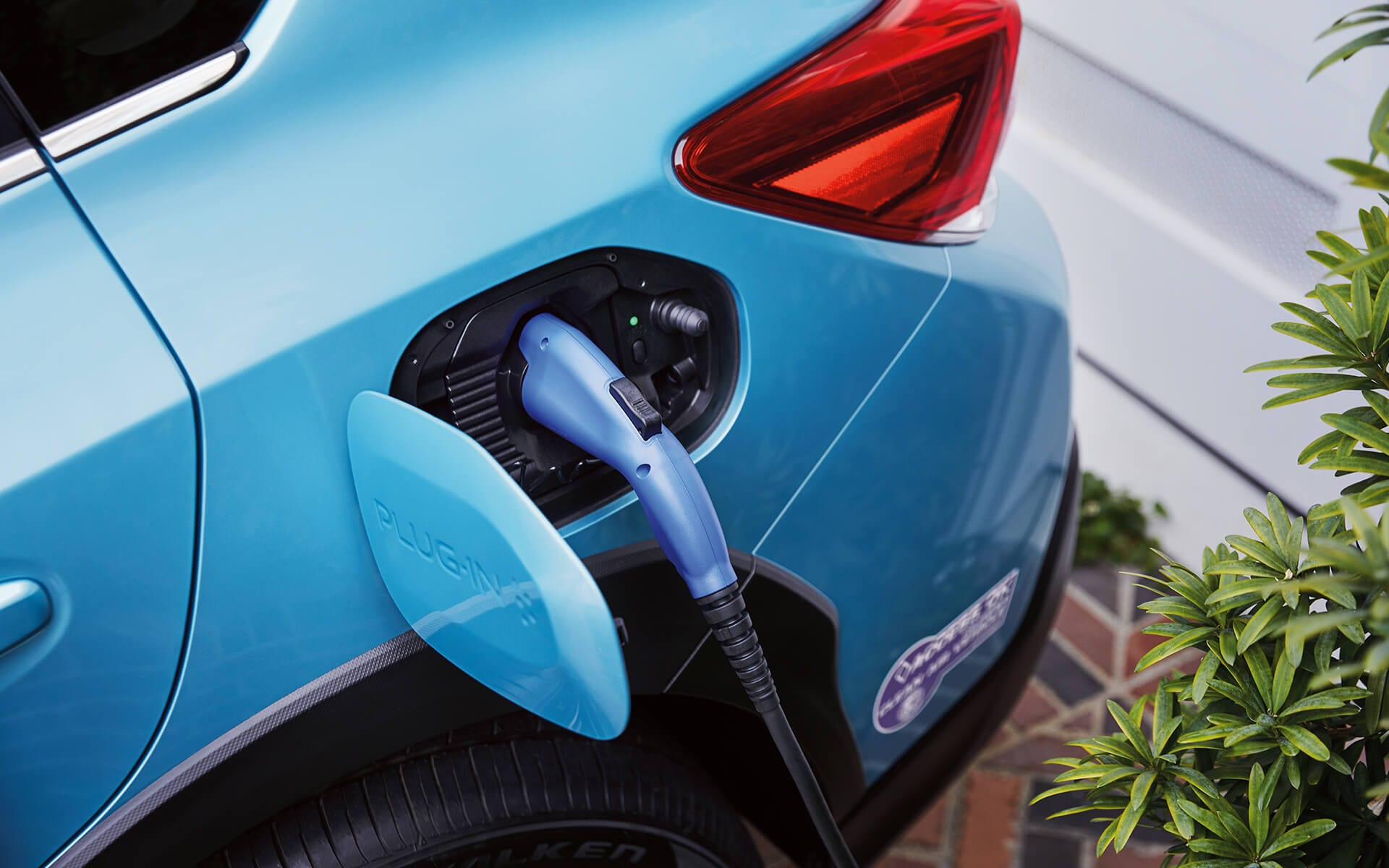 A close-up of the charging port on the 2020 Crosstrek Hybrid.