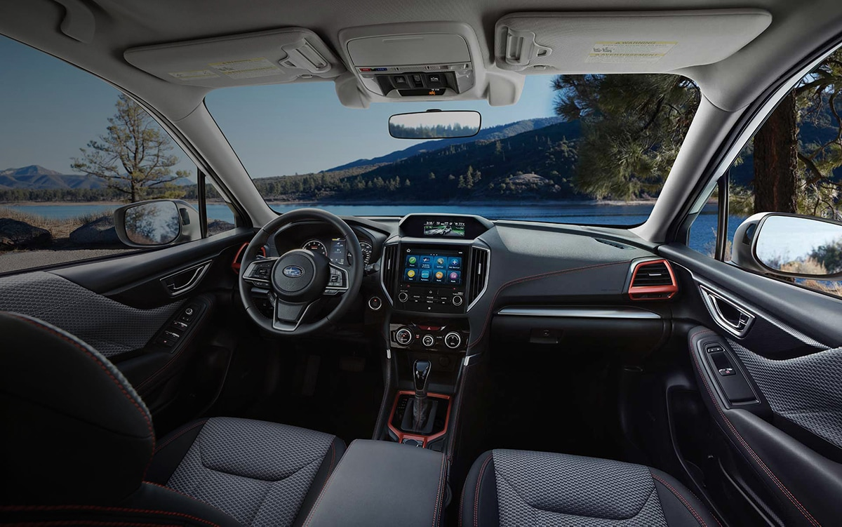 The view of the dashboard and cabin of the 2021 Subaru Forester Sport.