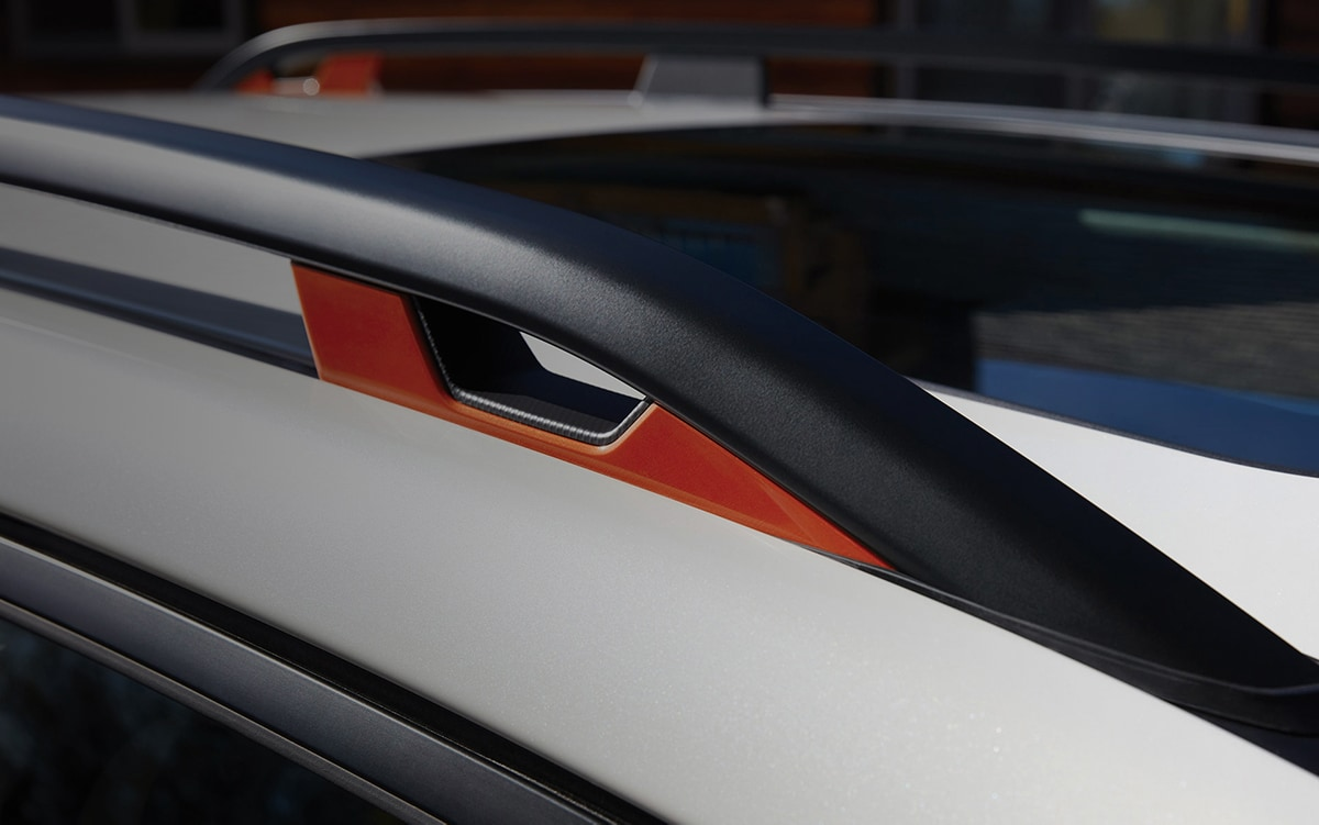 A close-up of the standard integrated roof rail tie-down points on the 2021 Subaru Forester Sport.