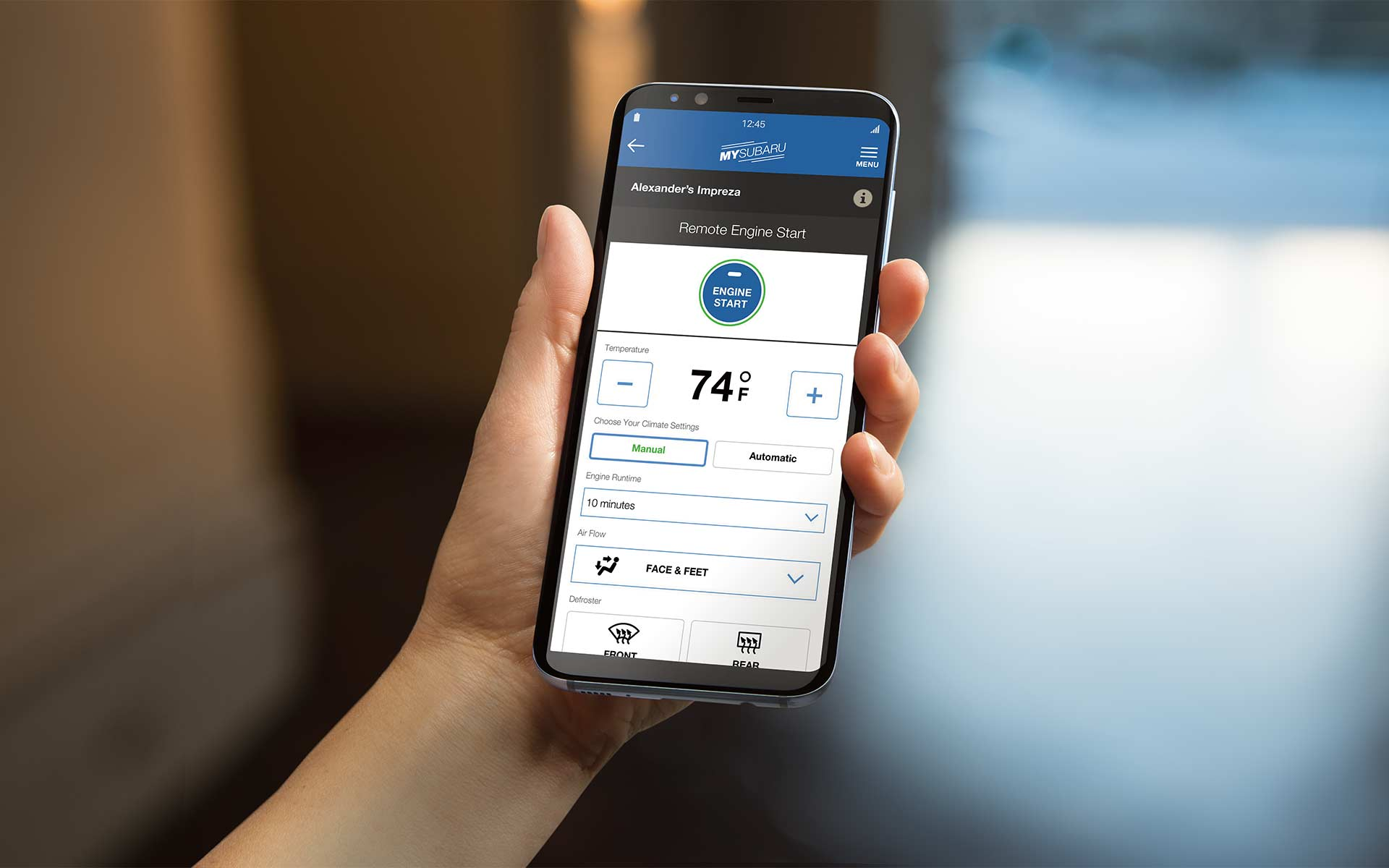 A smartphone showing the Remote Engine Start with Climate Control feature of SUBARU STARLINK® Safety and Security.