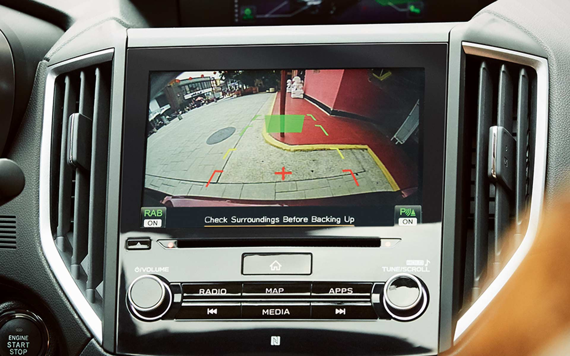 A close-up of the view from the Rear-Vision Camera in the 2020 Impreza.