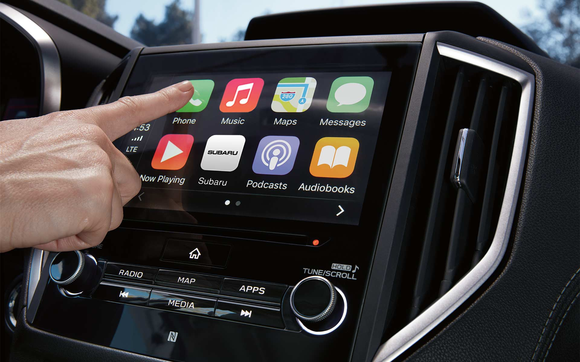 A close-up of the SUBARU STARLINK® Multimedia touchscreen in the 2020 Impreza.