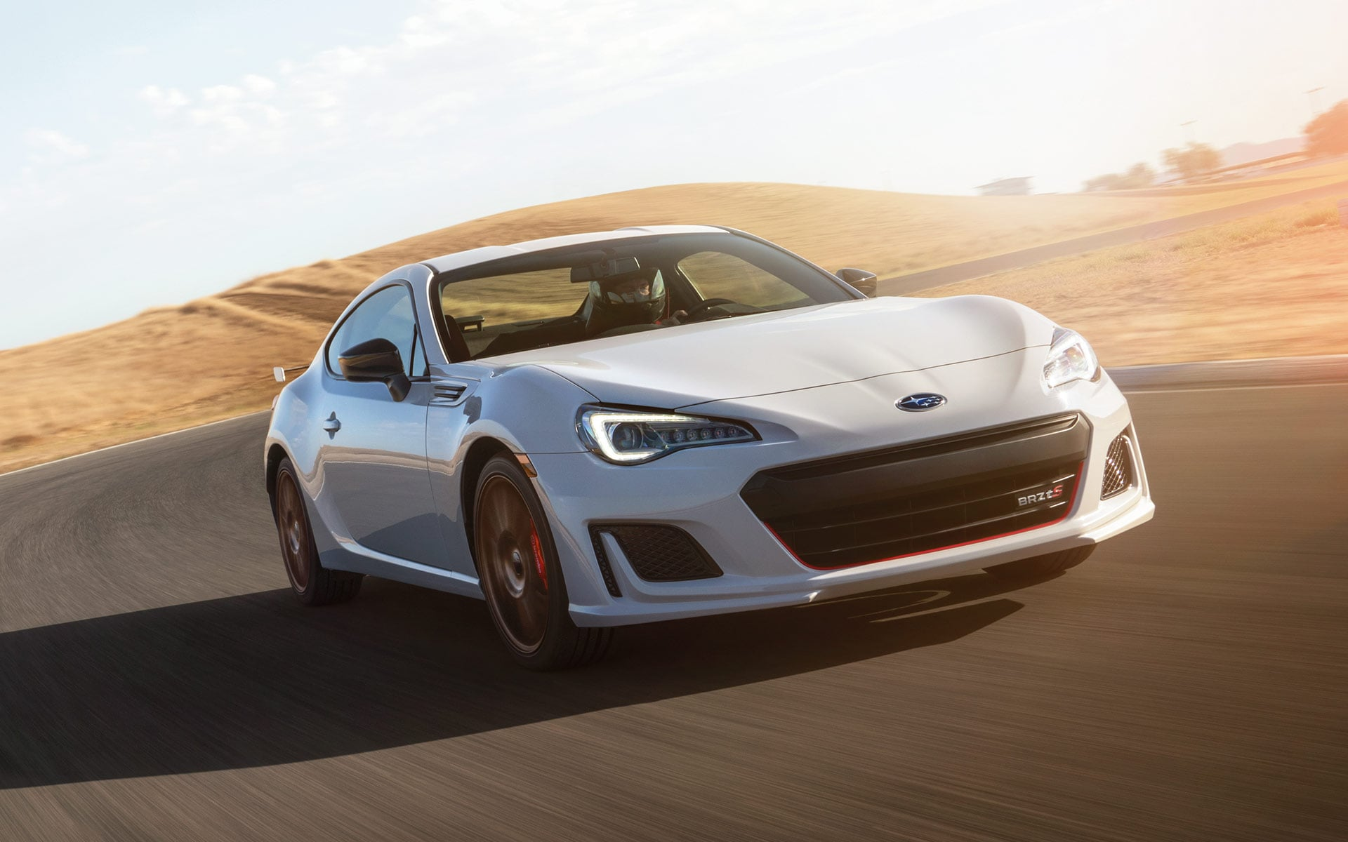 2020 BRZ tS driving on a road in the country