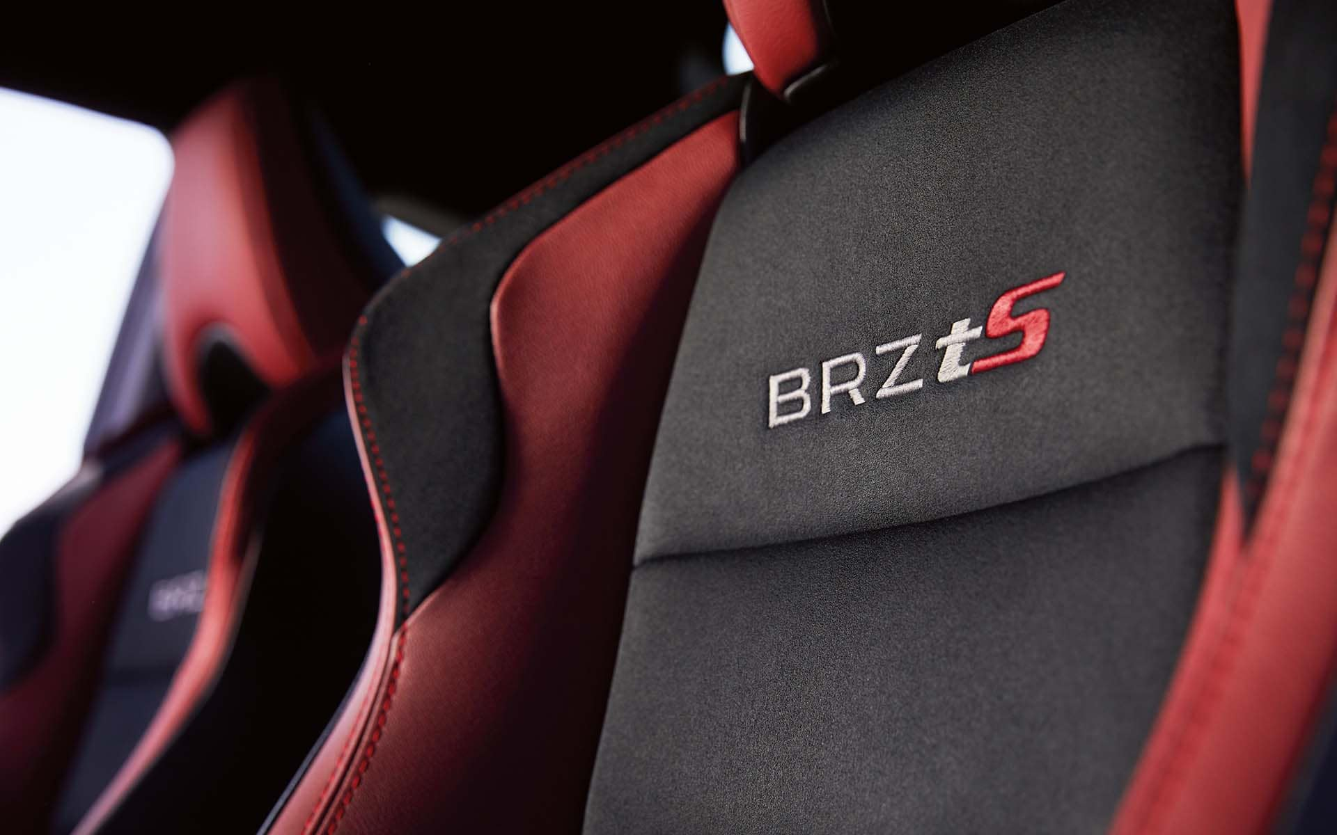 Close up view of 2020 Subaru BRZ tS Alcantara leather trimmed seats with red accents