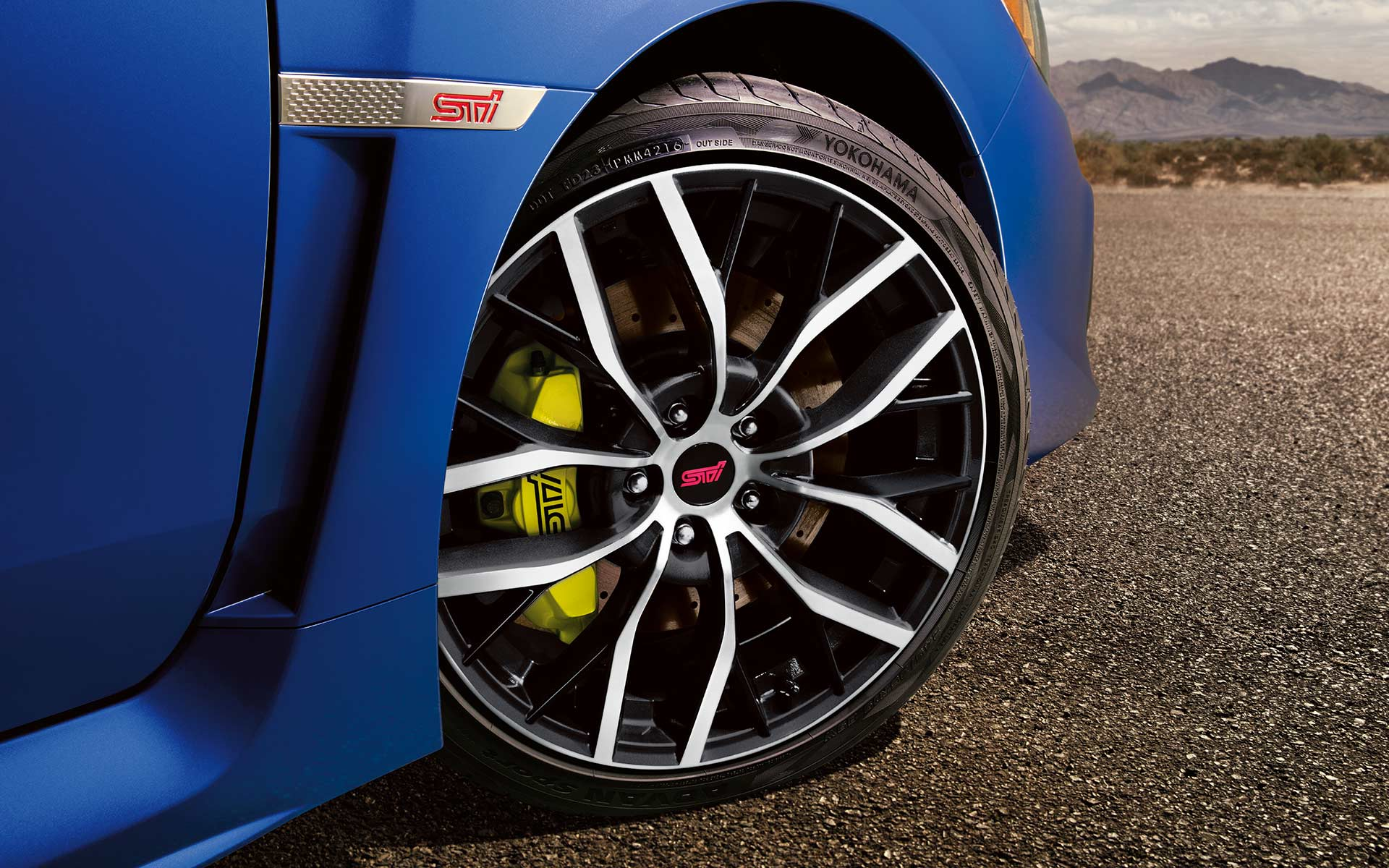 Close up view of WRX STI wheel