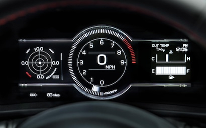 A close up of the front dash gauges on the 2022 BRZ Limited.