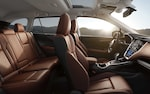 A side view showing the Nappa leather-trimmed interior of the 2022 Outback Touring model.