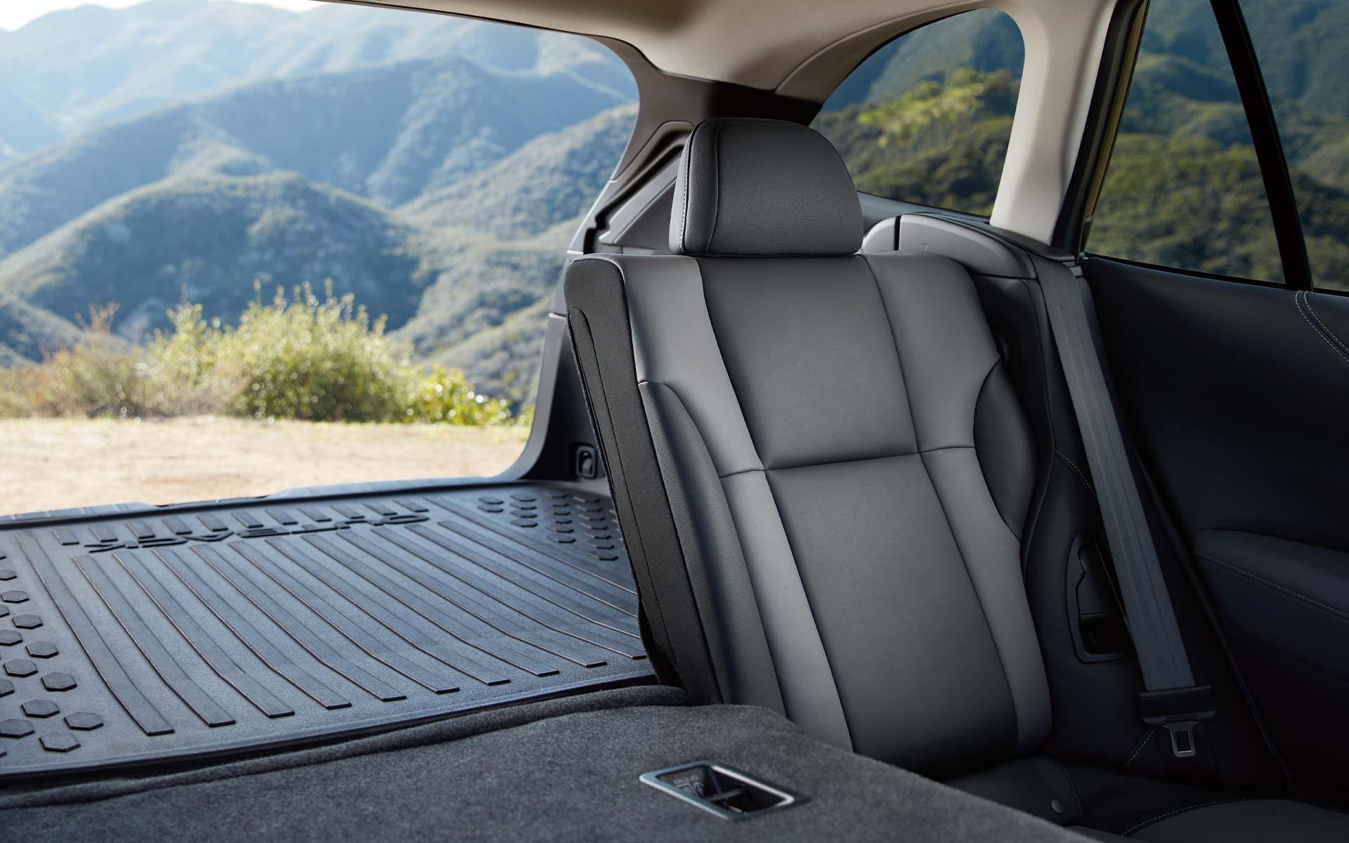 A view of the rear seat of the 2022 Subaru Onyx Edition XT showing the two-tone StarTex interior.